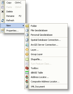 The shortcut menu for folder connections and subfolders