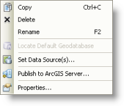 The shortcut menu in ArcCatalog for map documents