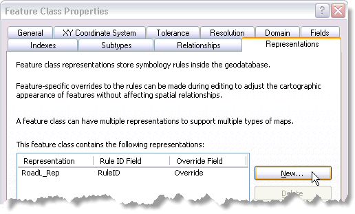 Create a new representation from the Representations tab on the Feature Class Properties dialog box in ArcCatalog