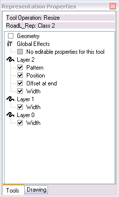 The Tools tab of the Representation Properties window