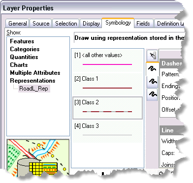 Symbology tab of the Layer Properties dialog box shows a Representations heading if representations exist on the source feature class.