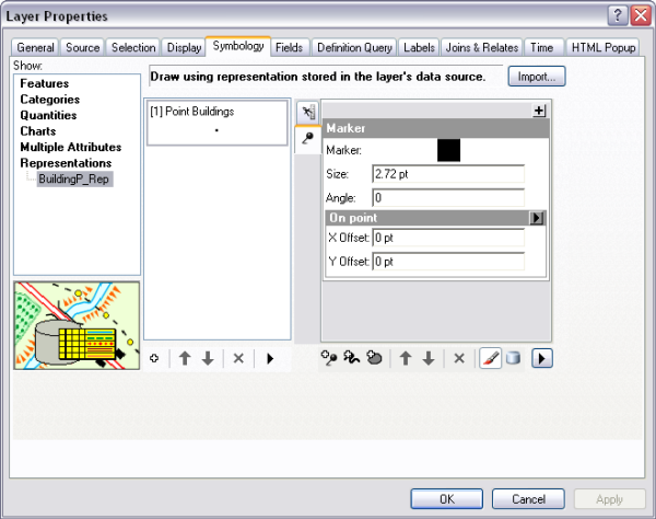 Layer Properties dialog box showing a representation