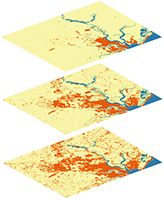 Input rasters recording land use per decade