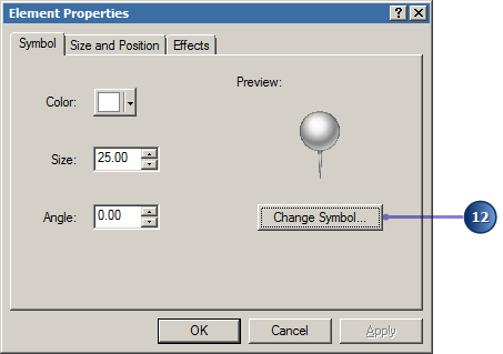 Change an element's properties including the symbol type.
