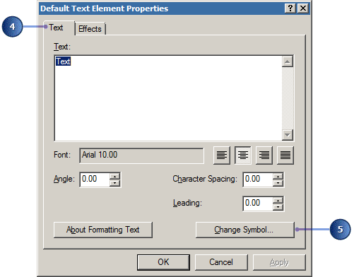 Default Text Element Properties dialog box
