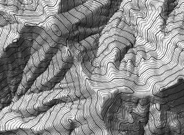 Contours created over a gray hillshade