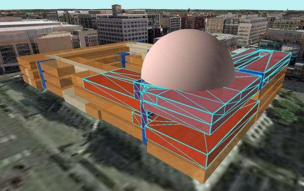 Example using Select by Location to select features using 3D distances.