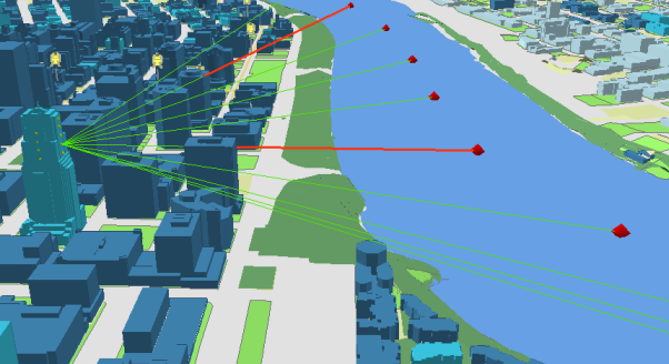 Example of line of sight analysis to see if and where the view of the river is obstructed from each floor of a proposed new building.