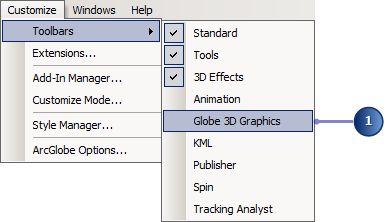 Add the Globe 3D Graphics toolbar.