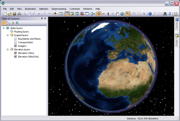 The ArcGlobe 3D visualization interface