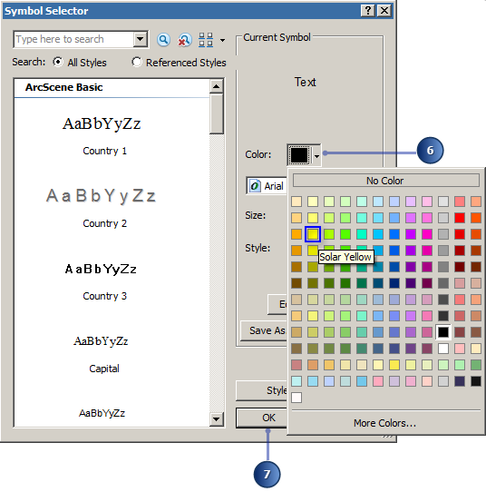 Change the color for text you want to digitize in the display.