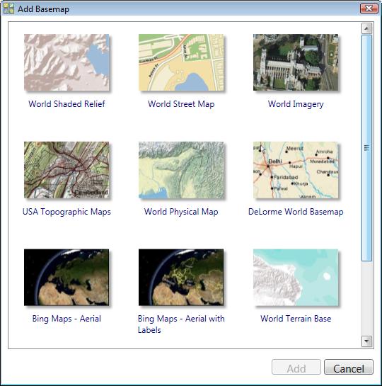 Add Basemap dialog box