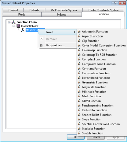 Mosaic dataset functions