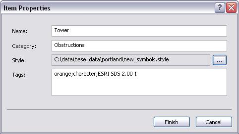 Item Properties dialog box