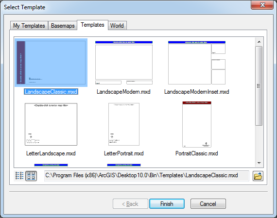 Change layout of templates dialog box