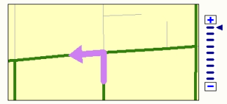 Maneuver highlight arrow in an inset map