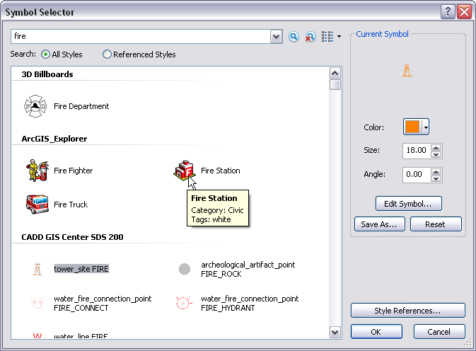 Symbol Selector dialog box