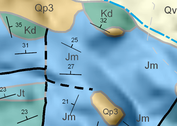 Labels for the Upper Jurassic, Morrison Formation (JM) are repeated throughout the feature.
