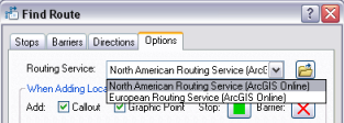 Routing service drop-down list
