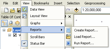 Accessing the reports menu in ArcMap