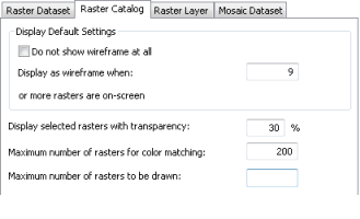 Raster catalog options