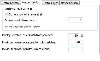 Raster catalog options
