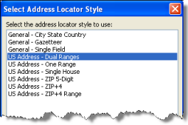 Select Address Locator Style dialog box