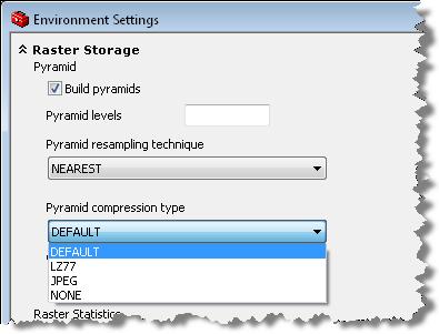 Raster Storage Environment Settings