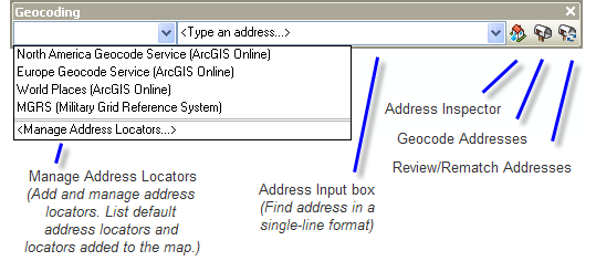 Geocoding toolbar