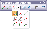 Feature Construction toolbar showing construction method palette