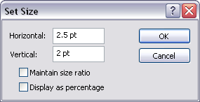 Set Size dialog box