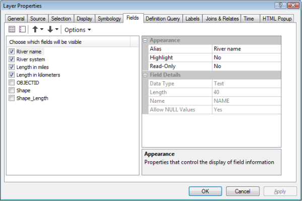 Layer Properties dialog box Fields tab