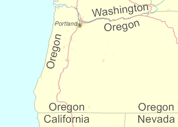 Oregon state labeled with the Allow single-sided boundary labeling option enabled.