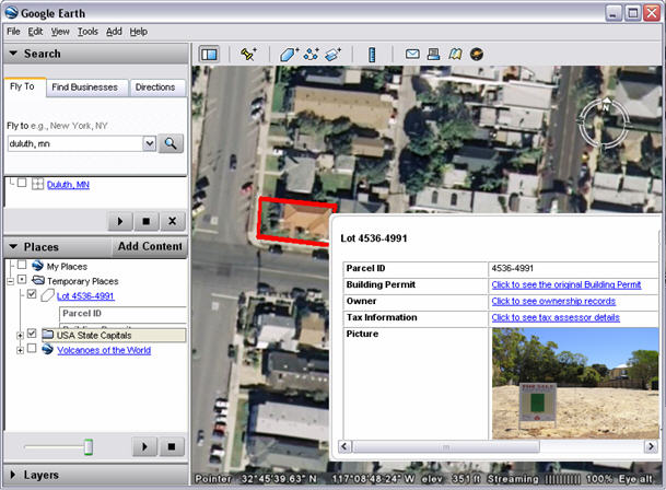HTML properties for features are shown when you click the feature in the Google map.