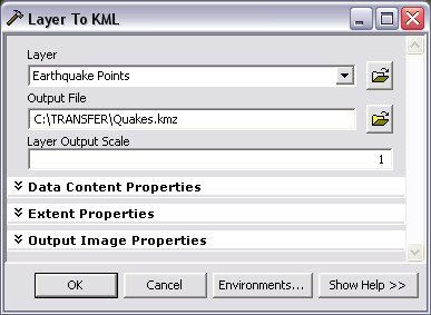 Layer To KML geoprocessing tool