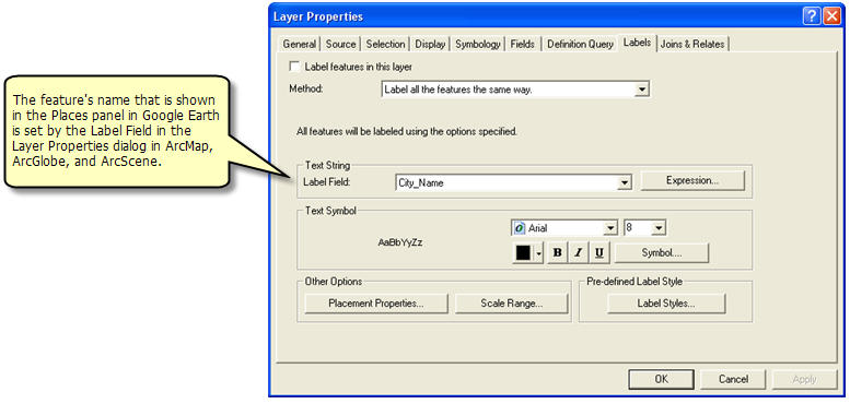 KML feature names are set in ArcGIS as the label properties for the map layer.