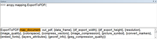 Screen capture of ExportToPDF syntax