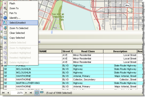 Selecting features in your map display from its highlighted table records
