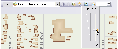Basemap layers can be dimmed using the Dim Level slider control.