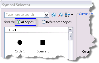 Search for symbols from all available styles