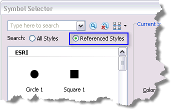 Search for symbols from referenced styles only