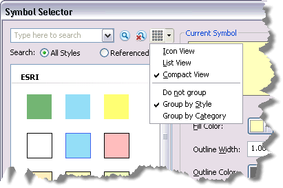 View setting on the Symbol Selector dialog box