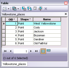 The attribute table for the point feature class created by converting the graphics to features