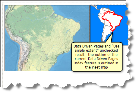 Example map where Data Driven Pages are being used and Use simple extent is unchecked for the extent indicator