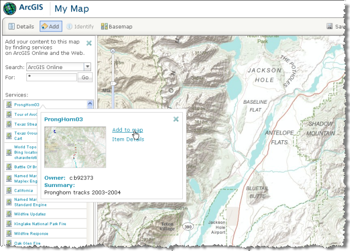 Creating a Web map at ArcGIS.com