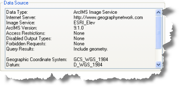 ArcIMS image service Data source