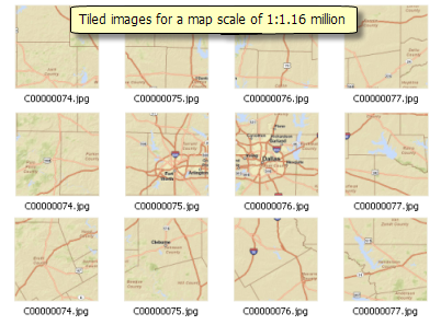 Tiles for map scale of 1:1.16 million