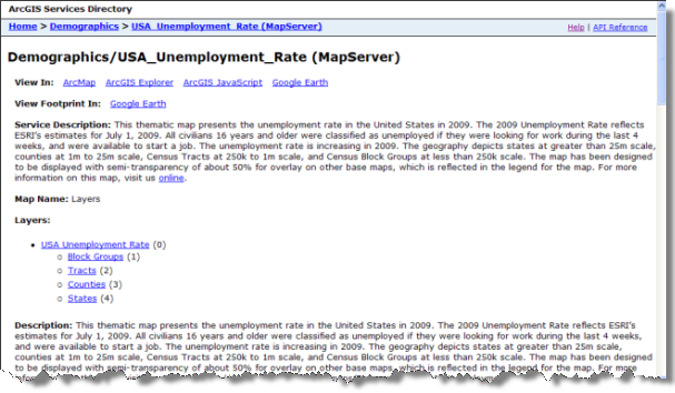 The Services Directory description for a Demographics/USA Unemployment Rate map service