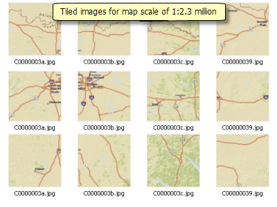 Tiles for map scale of 1:2.3 million