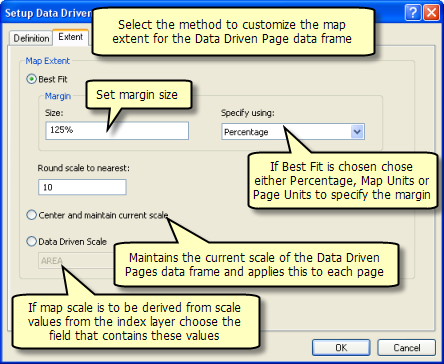 Extent tab on the Setup Data Driven Pages dialog box